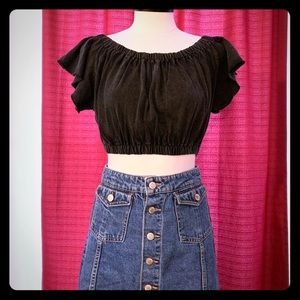 UO cropped on/off shoulder top